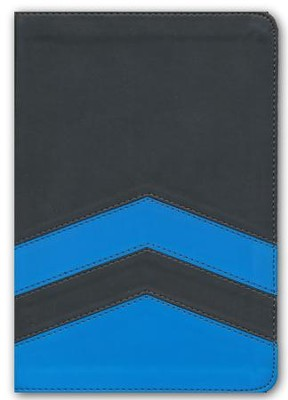 NLT Tween Slimline Bible, soft imitation Leather, Charcoal/Blue Chevron  -