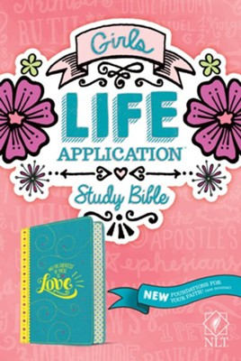 NLT Girls Life Application Study Bible--imitation leather, teal/yellow  -     By: Tyndale & Livingstone