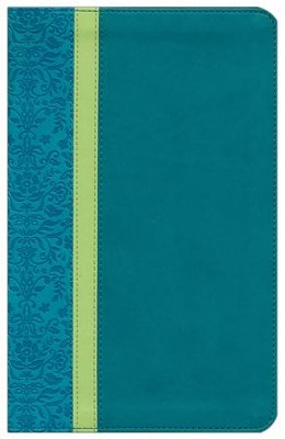 NLT Personal Size Bible, Large Print, soft imitation leather, teal/avocado/jade with thumb index  -