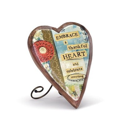 Thankful Heart Wood Carved Heart Plaque  -