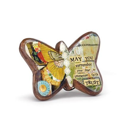 Faith and Trust Wood Carved Butterfly Plaque  -
