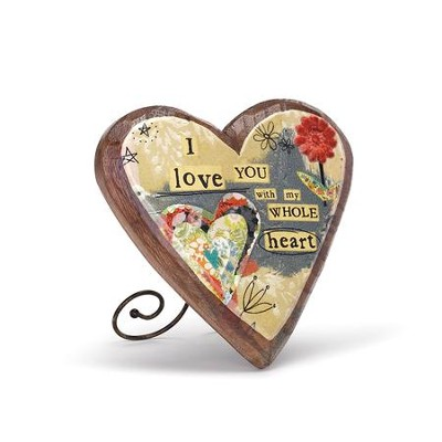 I Love You Wood Carved Heart Plaque  -
