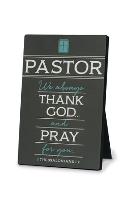 Thank You Pastor Plaque, Gray, 1 Thessalonians 1:2  -