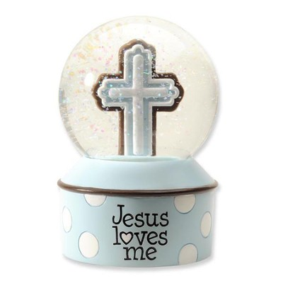 Jesus Loves Me Waterglobe, Blue  -