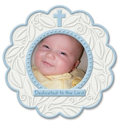 Dedicated To the Lord, Round Photo Frame, Blue  -