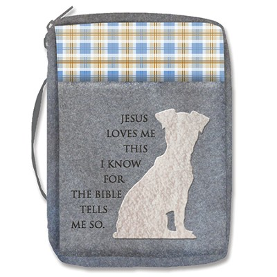 Jesus Loves Me, Puppy, Bible Cover, Blue  -