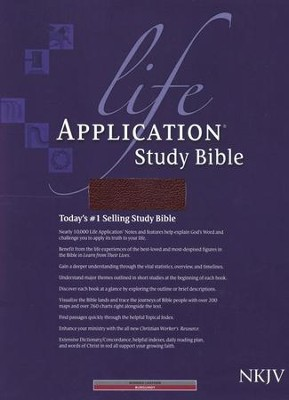 NKJV Life Application Study Bible, Bonded leather,   Burgundy, Thumb Indexed  -