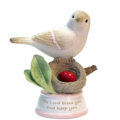 Birthstone Bird Figure, The Lord Bless and Keep You, January  -