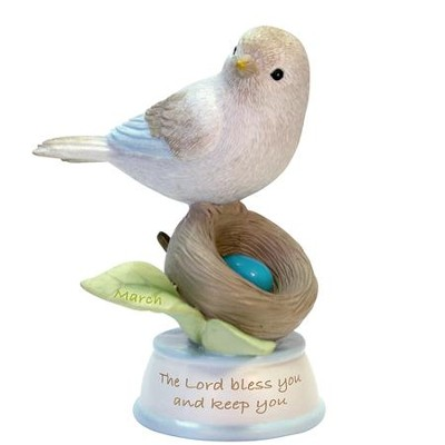 Birthstone Bird Figure, The Lord Bless and Keep You, March  -