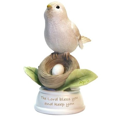 Birthstone Bird Figure, The Lord Bless and Keep You, April  -
