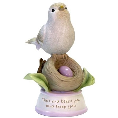 Birthstone Bird Figure, The Lord Bless and Keep You, June  -