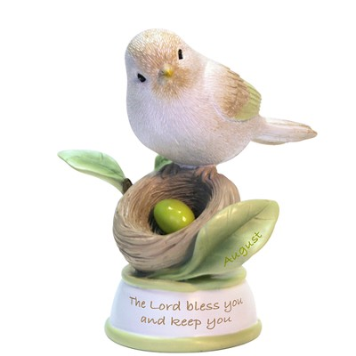 Birthstone Bird Figure, The Lord Bless and Keep You, August  -