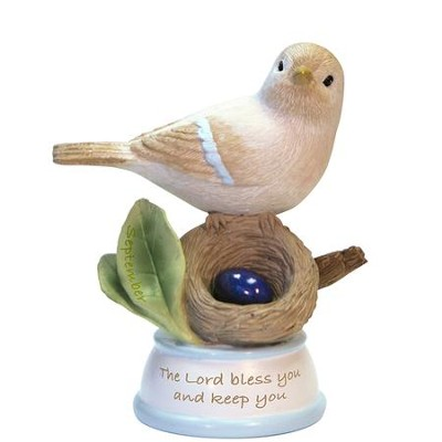 Birthstone Bird Figure, The Lord Bless and Keep You, September  -