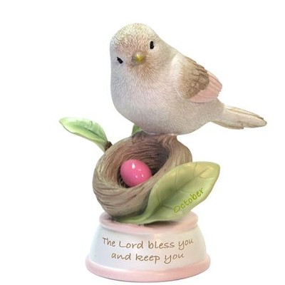 Birthstone Bird Figure, The Lord Bless and Keep You, October  -