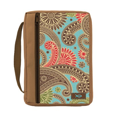 Ichthus Bible Cover, Paisley, Coco Brown, Medium  -