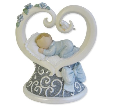 Baby Heart Figurine, Blue  -     By: Kim Lawrence