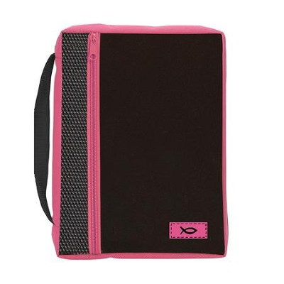 Ichthus Bible Cover, Black and Pink, Large  -
