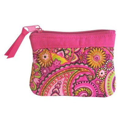 Hope Coin Purse, Pink Paisley  -