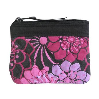 Cross Coin Purse, Floral, Purple  -