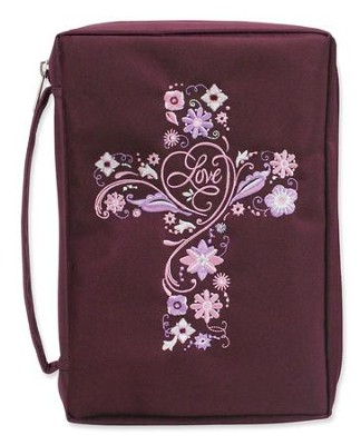 Bible Cover, Embroidered Cross, Burg, Large  -