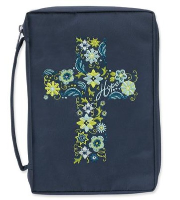 Bible Cover, Embroidered Cross, Navy, Large  -