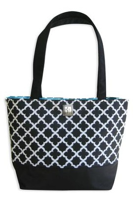 Tote, Cross Geo Pattern Black, White and Turquoise  -
