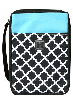 Bible Cover, Cross Geo Pattern Black, White & Turquoise, X-Large  -