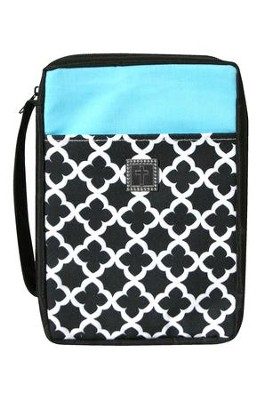 Bible Cover, Cross Geo Pattern Black, White & Turquoise, Large  -