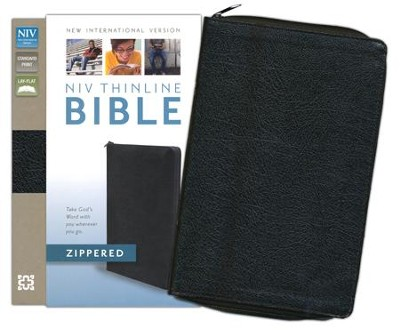 NIV Thinline, Bonded Leather, Zippered Collection Bible, Black  -