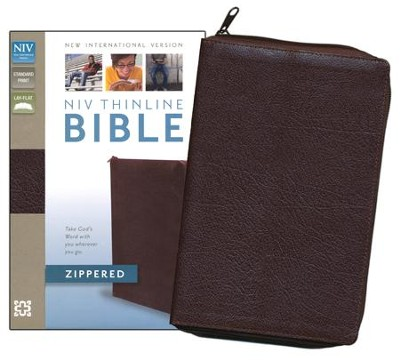 NIV Thinline, Bonded Leather, Zippered Collection Bible, Burgundy  -