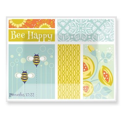 Bee Happy Glass Plate  -     By: Robin Pickens