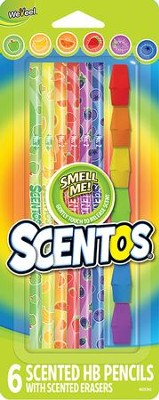 Scentos Scented Colored Pencils with Erasers, Pack of 6  -