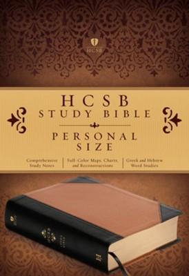 HCSB Personal Size Study Bible, Black and Tan Imitation Leather  -