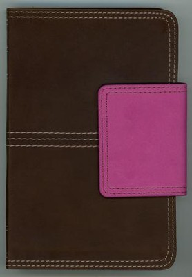 NKJV Compact UltraThin Reference Bible, Brown and Pink Imitation Leather with Magnetic Flap  -