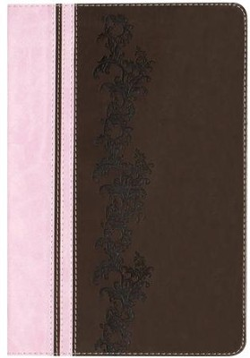 KJV Rainbow Study Bible, Pink and Brown LeatherTouch - Imperfectly Imprinted Bibles  -