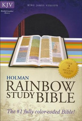 KJV Rainbow Study Bible, Brown and Chestnut LeatherTouch  -