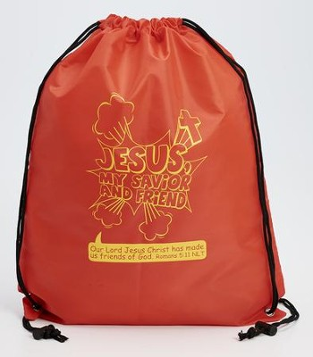 Jesus, My Savior and Friend, Drawstring Backpack, Red  -