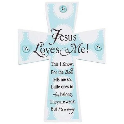 Jesus Loves Me Wall Cross, Blue  -