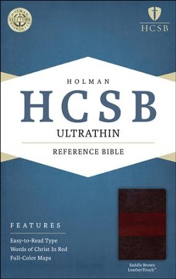HCSB Ultrathin Reference Bible, Saddle Brown LeatherTouch  -