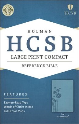 HCSB Large Print Compact Bible, Teal LeatherTouch  -