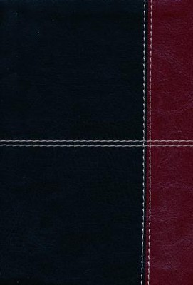 HCSB Large Print Compact Bible, Black and Burgundy LeatherTouch  -