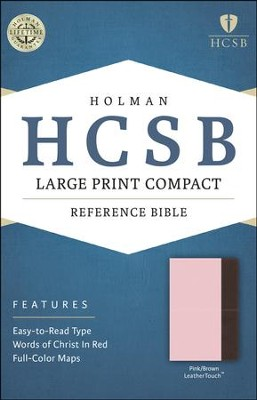 HCSB Large Print Compact Bible, Pink and Brown LeatherTouch  -