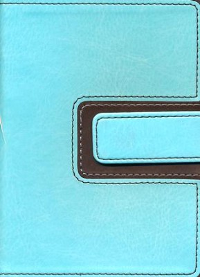 HCSB Large Print Compact Bible, Brown and Blue LeatherTouch with Magnetic Flap  -