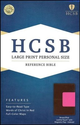 HCSB Large Print Personal Size Bible, Pink and Brown LeatherTouch with Magnetic Flap, Thumb-Indexed  -