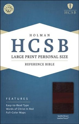 HCSB Large Print Personal Size Bible, Saddle Brown LeatherTouch  -