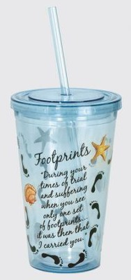 Footprints Tumbler, with Straw  -