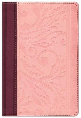RVR 1960 Biblia Letra Grande Tama&#241o Manual con Referencias, borravino/rosado s&#237mil piel, RVR 1960 Hand Size Large-Print Reference Bible, Wine and Blush Leathertouch  -