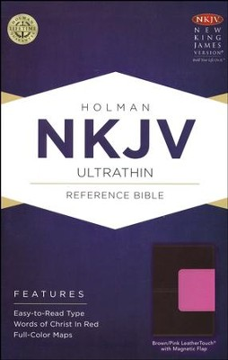 NKJV Ultrathin Reference Bible, Brown and Pink LeatherTouch with Magnetic Flap  -