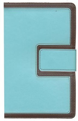 HCSB Ultrathin Reference Bible, Brown and Blue LeatherTouch with Magnetic Flap  -
