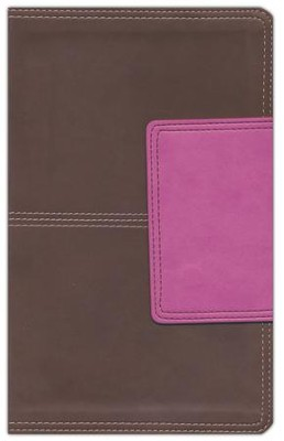 HCSB Ultrathin Reference Bible, Brown and Pink LeatherTouch with Magnetic Flap, Thumb-Indexed  -